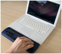 Apple laptop with Easy Braille
